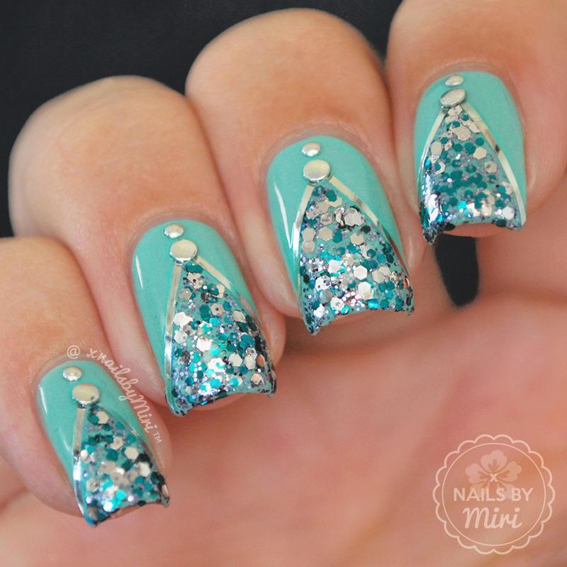 Sparkly Mint Mani nail art by xNailsByMiri