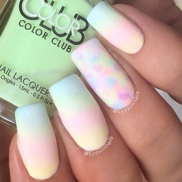 Matte pastel neon gradient  nail art by Virginia