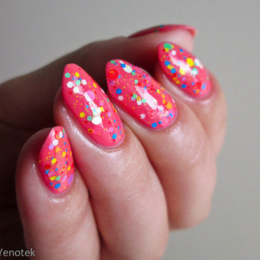 Orly Pixy Stix & Glam Polish Insane Clown Poppy nail art by Yenotek