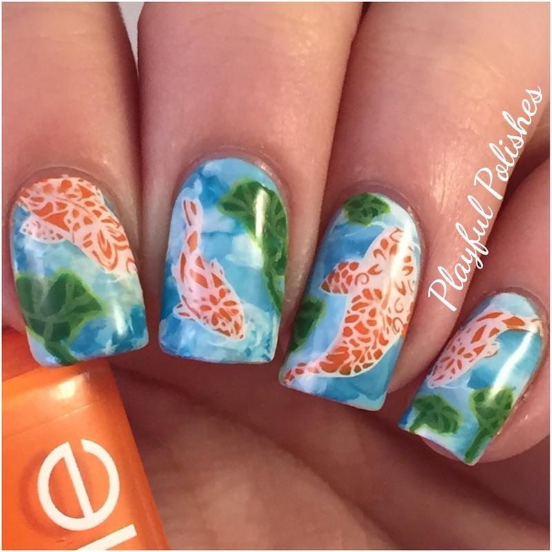 Advanced Nail Art: Advanced Stamp Koi Fish Nails Nail Art By Playful Polishes