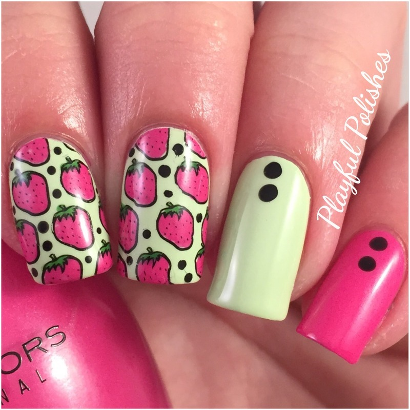 Advanced Stamp Strawberry Nails nail art by Playful Polishes