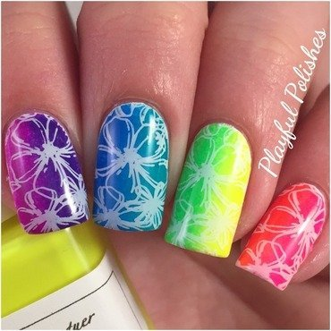 Neon Floral Rainbow Nails nail art by Playful Polishes