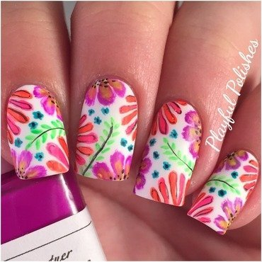 Freehand Neon Floral Nails nail art by Playful Polishes