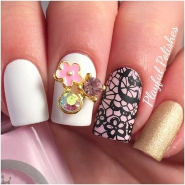BornPrettyStore Flower Charm & Lace Nails nail art by Playful Polishes