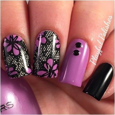 Purple Lace Nails nail art by Playful Polishes