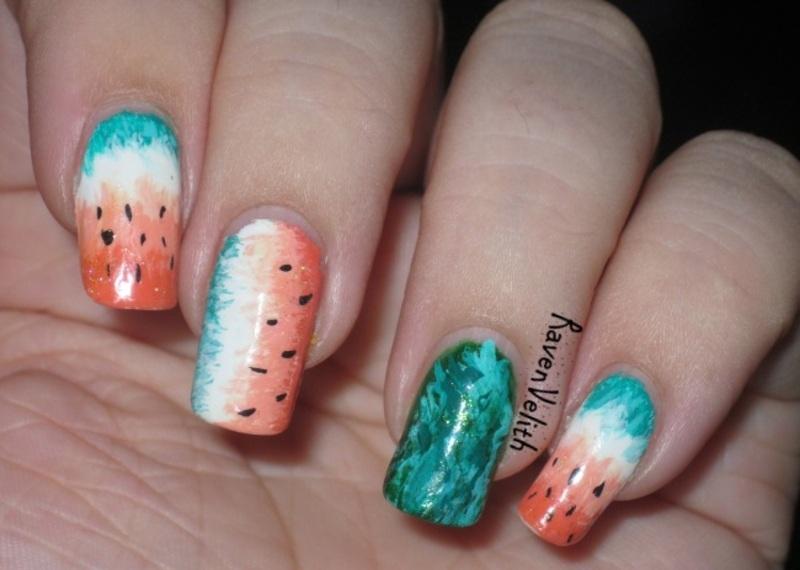 Sketchy Watermelons nail art by Lynni V.