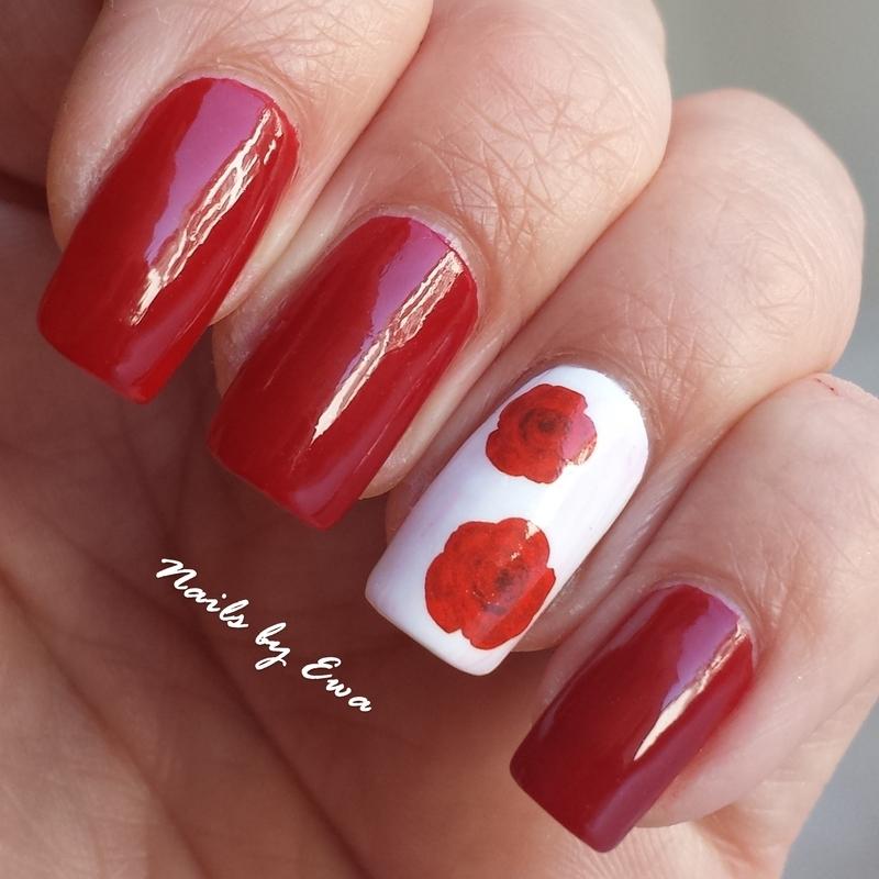 red roses nail art by Ewa