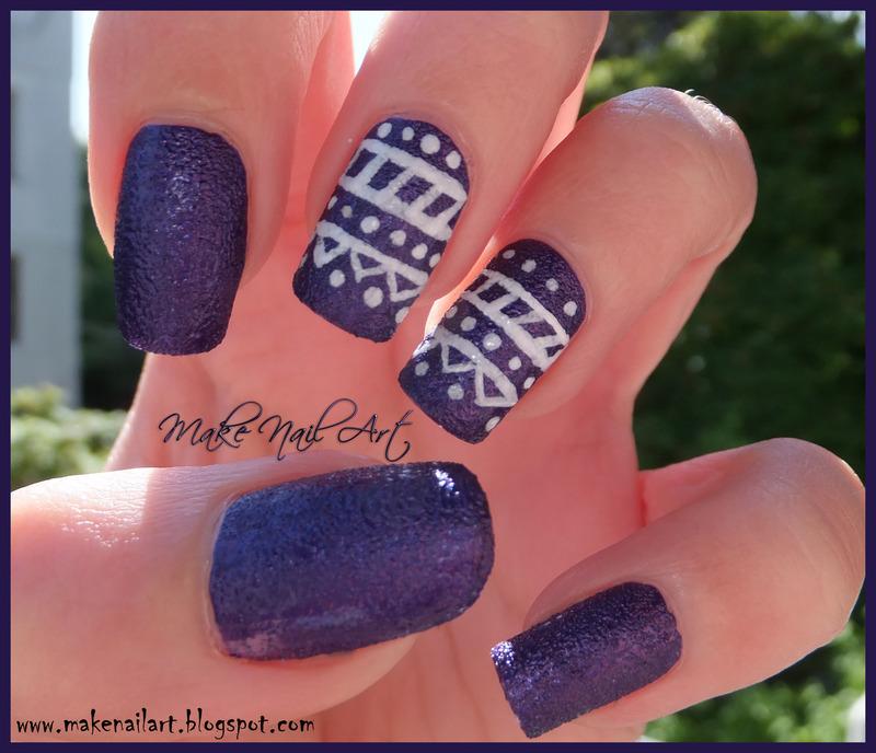 Textured Polish With Tribal Print Nail Art Design nail art by Make Nail Art