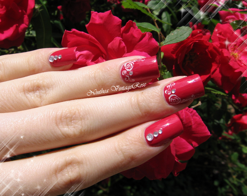 Rose garden nail art by Ninthea