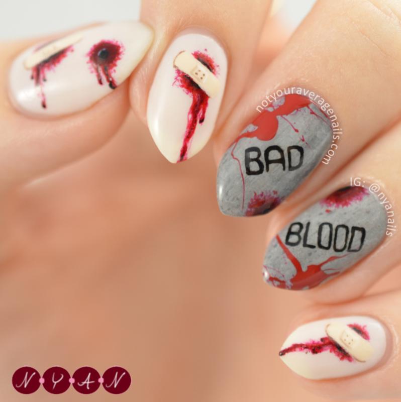 Bad Blood nail art by Becca (nyanails)