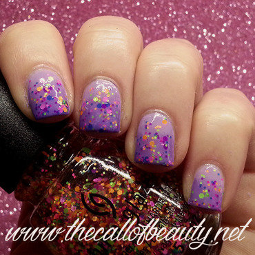 Lilac Gradient with neon dots nail art by The Call of Beauty