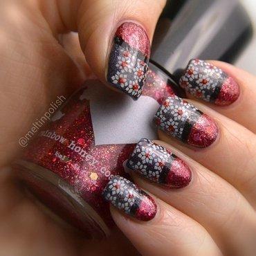 Ruby Flowers nail art by Meltin'polish