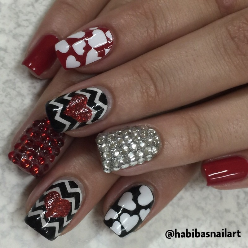 Valentines nails nail art by Habiba  El-kallas