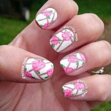 negative space with roses  nail art by Sarah Bellwood