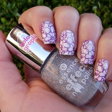 Holo flowers nail art by Sanela