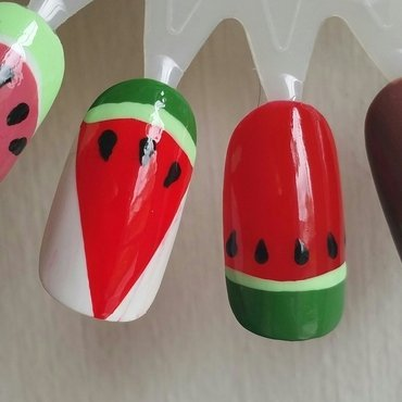Red watermelons  nail art by Kristen Lovett