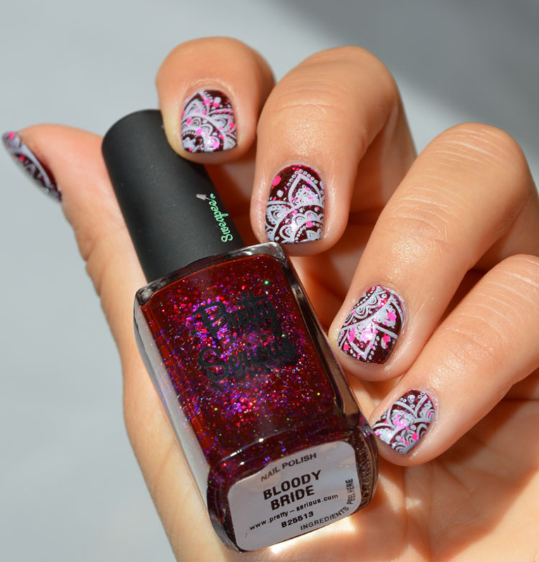Stamping bloody bride nail art by Sweapee