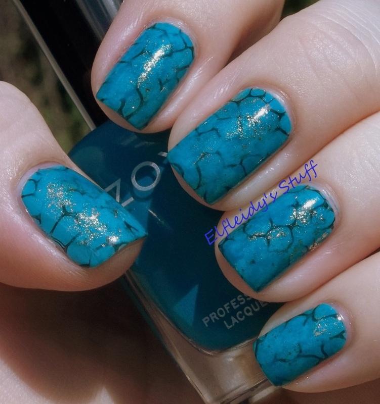 Turquoise stone mani nail art by Jenette Maitland-Tomblin