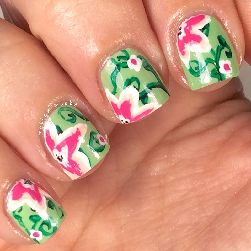 Abstract Flowers and Vines nail art by Crystal Bond