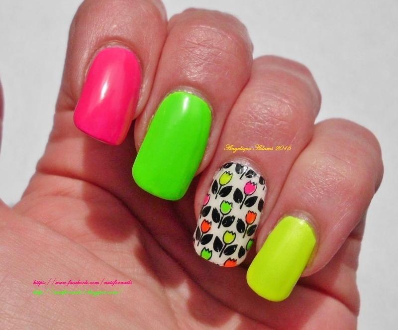 Neon Tulips  nail art by Angelique Adams