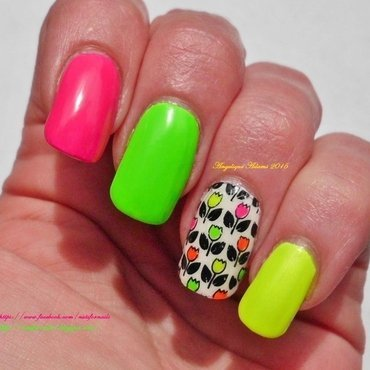 Neon Tulips  nail art by Angelique Adams