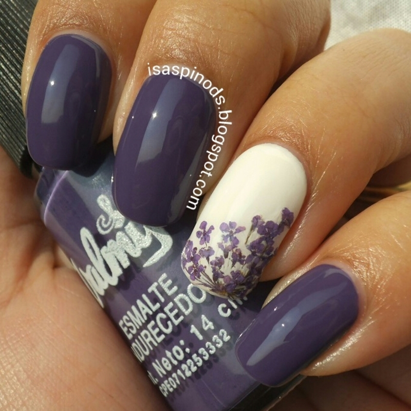 #Reto31Dias2015 Día 6 - Violeta - Flores Secas nail art by Isabel