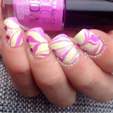 Purple and yellow watermarble nail art by manimaninails