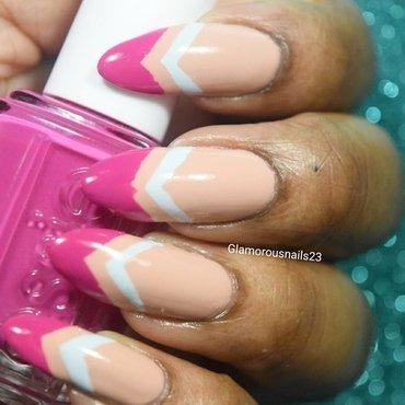 Chevron On Chevron/Ballet Slippers nail art by glamorousnails23