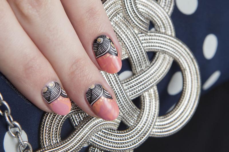 Pink reverse nail art by Magdalena