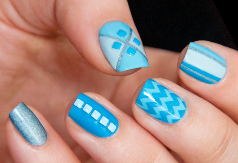 Sky blue Mix n' Match nail art by Chasing Shadows