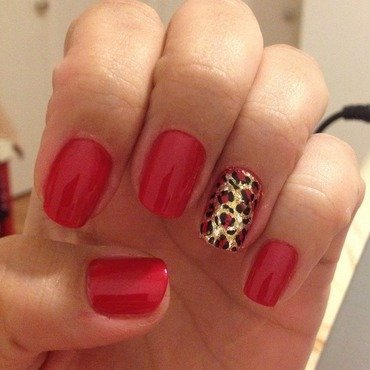 Red leopard nail art by Elyana