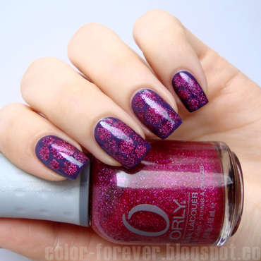 pink & plum blobbicure nail art by ania