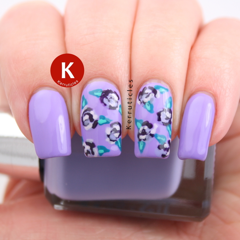 Lilac and teal roses nail art by Claire Kerr