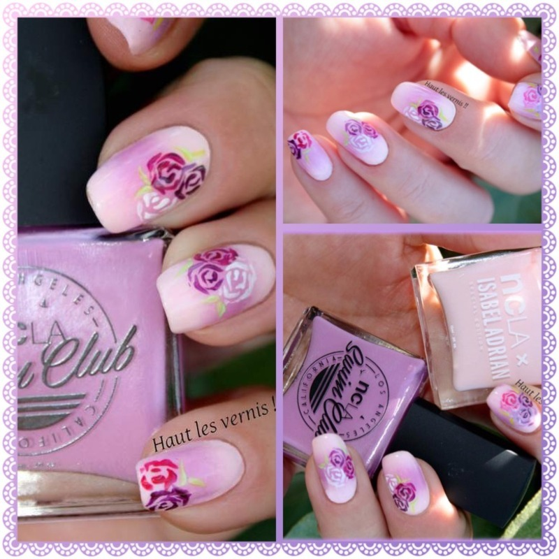 Romantic flower nail art by Elodie Mayer