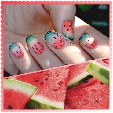 Water melon nail art by Elodie Mayer