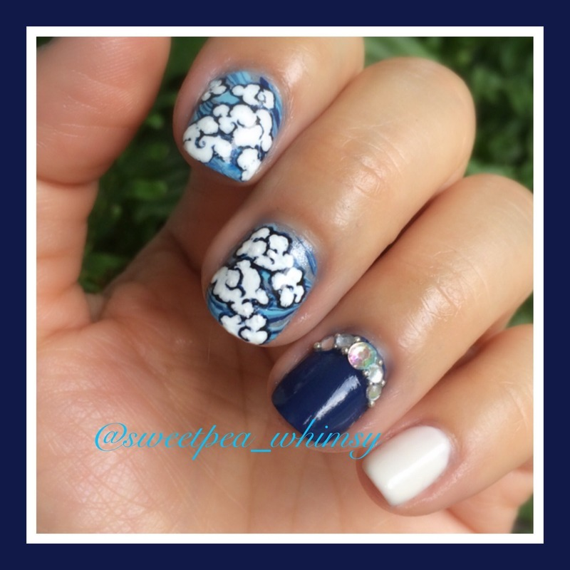 Rain Clouds nail art by SweetPea_Whimsy