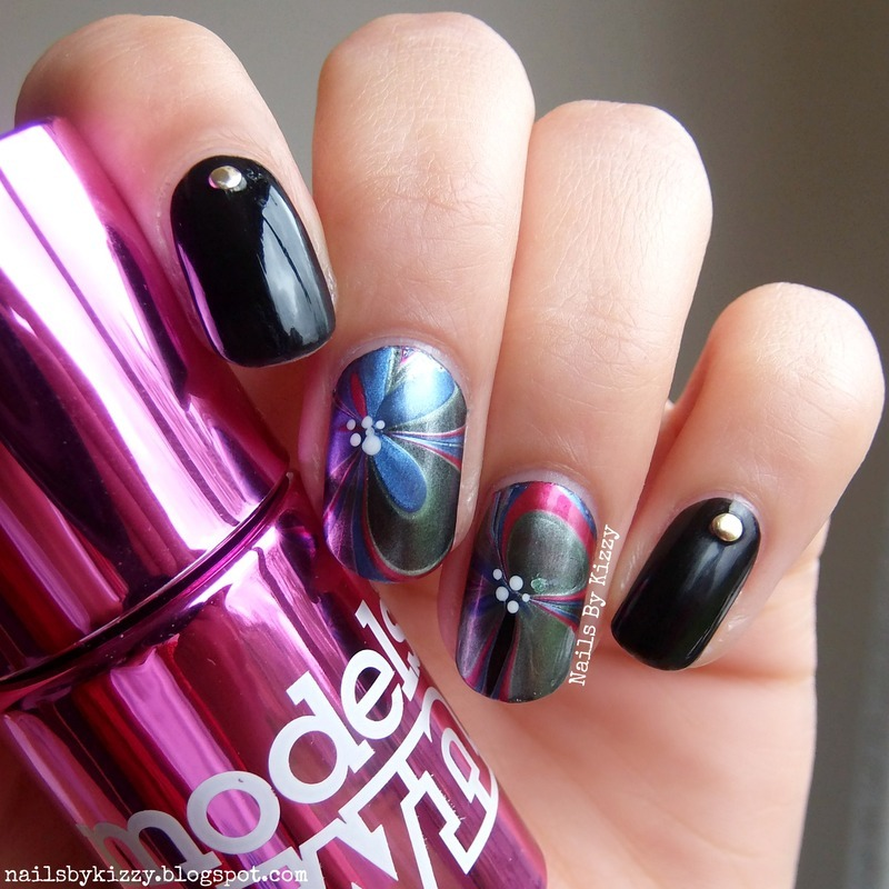 Water Marble Nail Polish Brands India: Classy Water Marble Flowers Nail Art By Kizzy