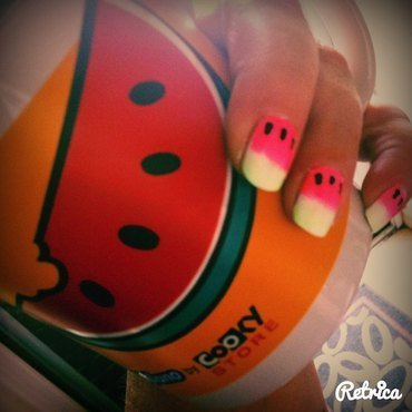Watermelon Neon nail art by Helianna