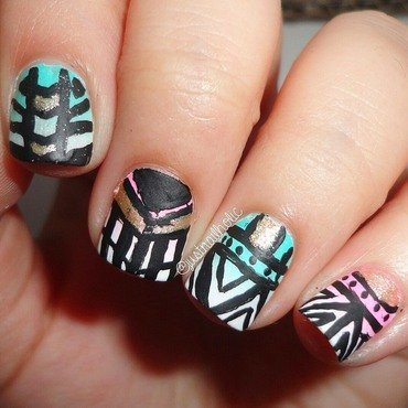 Tribal Nails nail art by Melany Antelo