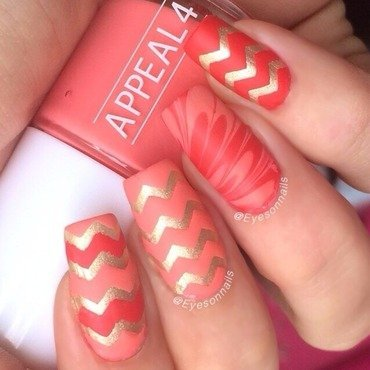 Coral & gold  nail art by Virginia