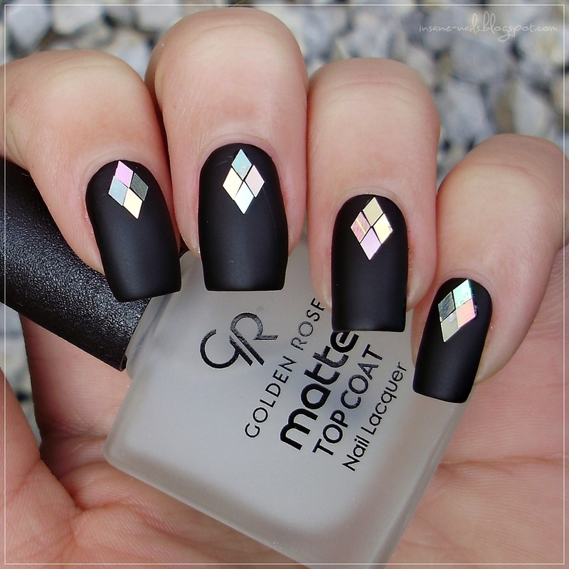 Black matte nails with silver glequins nail art by Sanela