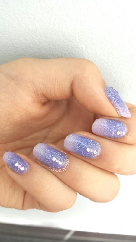 Glittery Purple Gradient nail art by Shirley X.