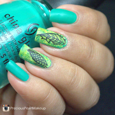 Leaf Green Nail Art nail art by Pearl P.