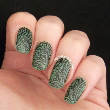 Stamped Pistachio  nail art by Squeaky  Nails