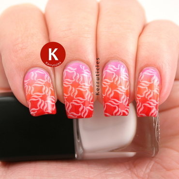 Stamped pink, orange and red gradient nail art by Claire Kerr