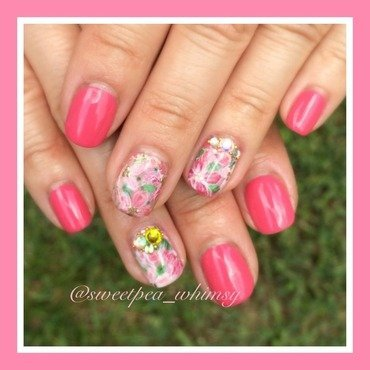 Watercolor / Abstract Pink Floral nail art by SweetPea_Whimsy