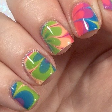 Rainbow Colored Watermarble nail art by Crystal Bond