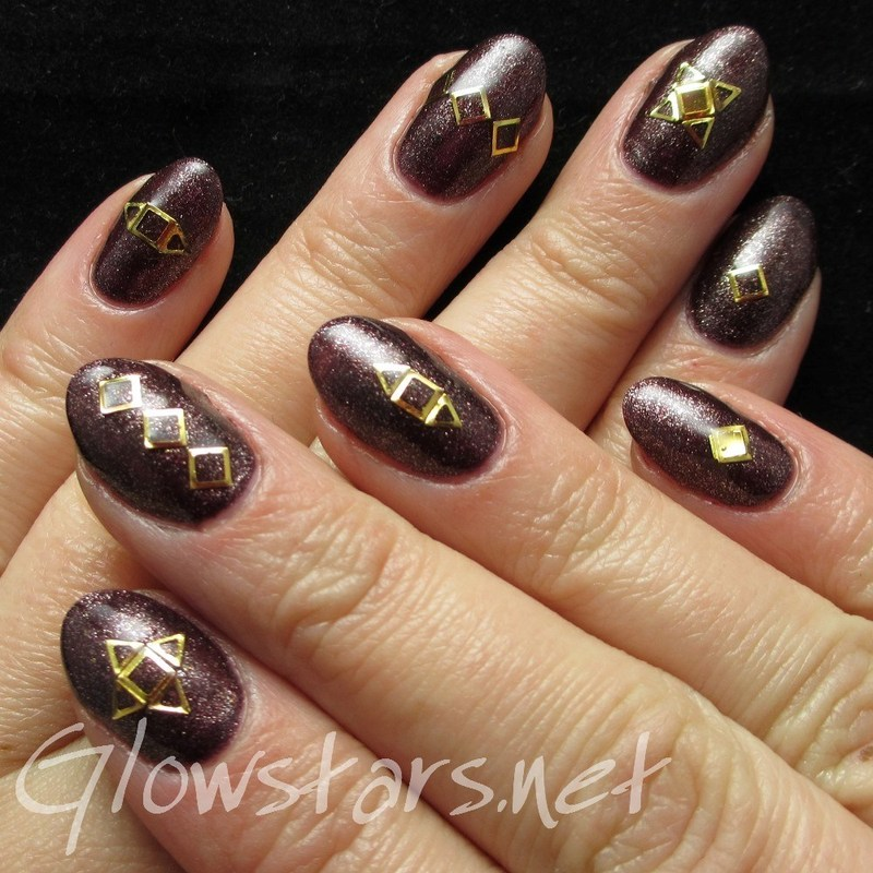 Gold Embellishments on Gelish Whose Cider Are You On? nail art by Vic 'Glowstars' Pires