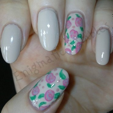 Freehand Roses nail art by Enigmatic Rambles