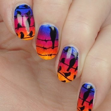 Birds on a wire nail art by Yasinisi
